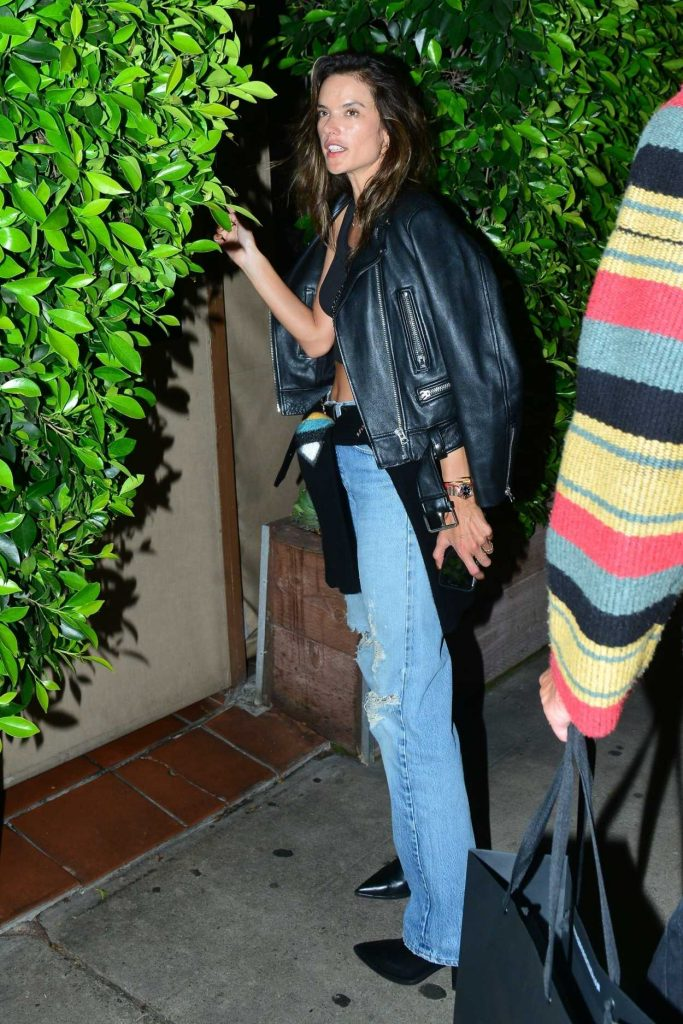 Alessandra Ambrosio in a Black Leather Jacket