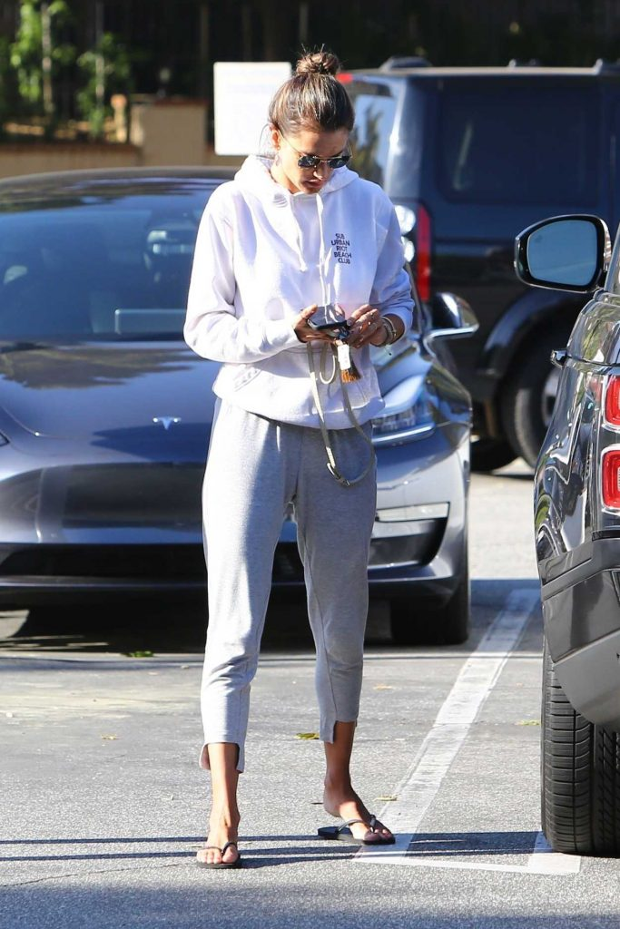 Alessandra Ambrosio in a White Hoody