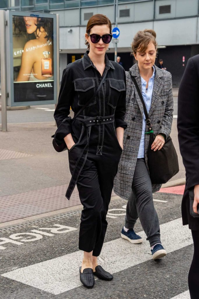 Anne Hathaway in a Black Overalls