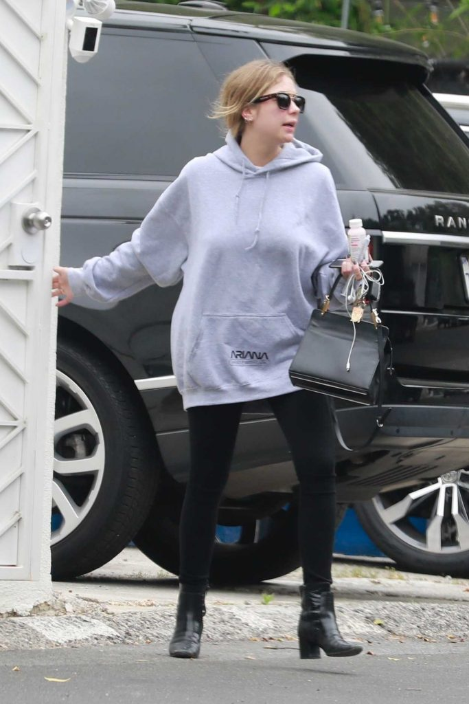 Ashley Benson in a Gray Hoody