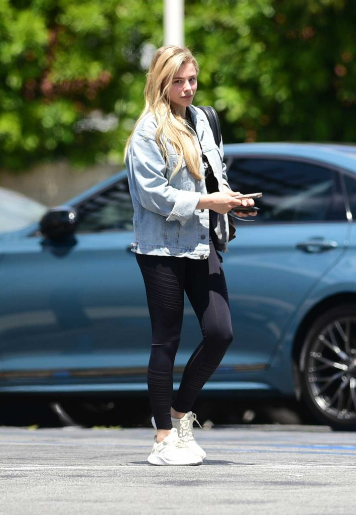 Chloe Moretz in a Blue Denim Jacket