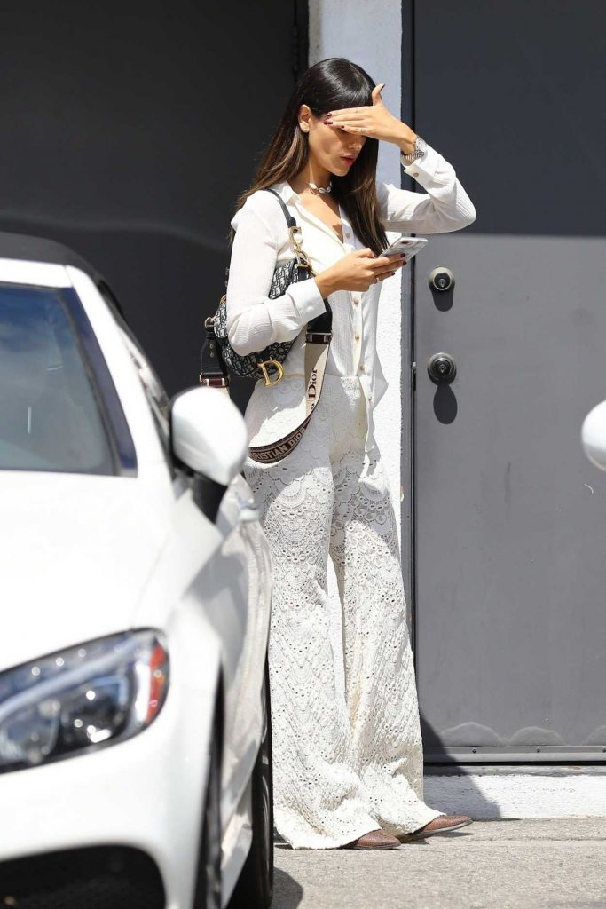 Eiza Gonzalez in a White Embroidered Pants