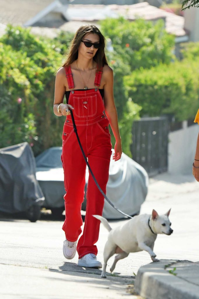 Emily Ratajkowski in a Red Jumpsuit