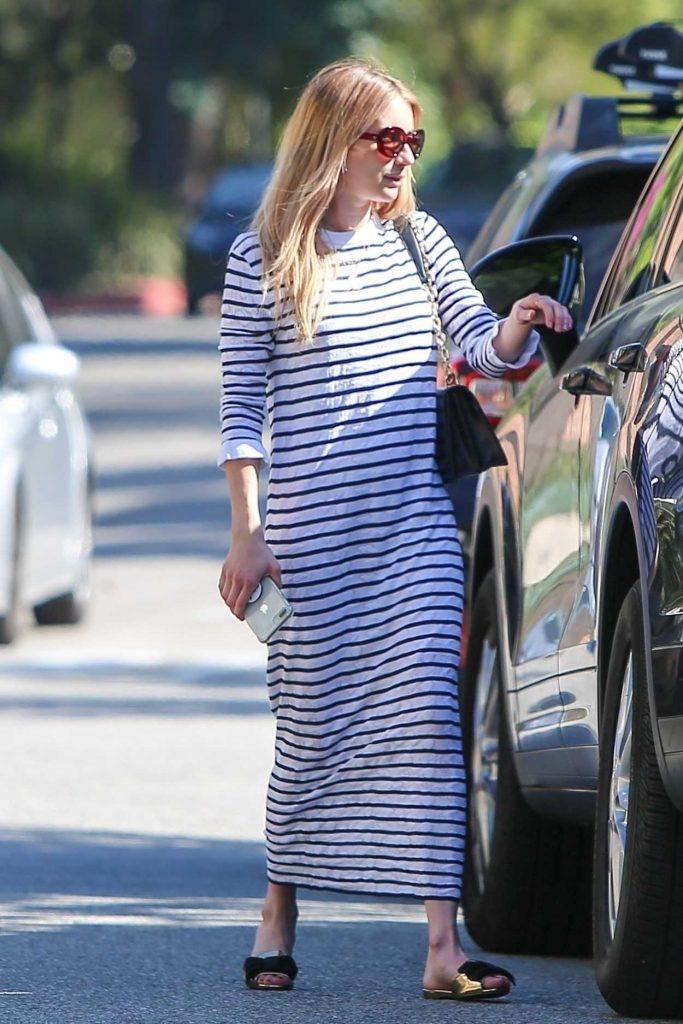 Emma Roberts in a Striped Dress