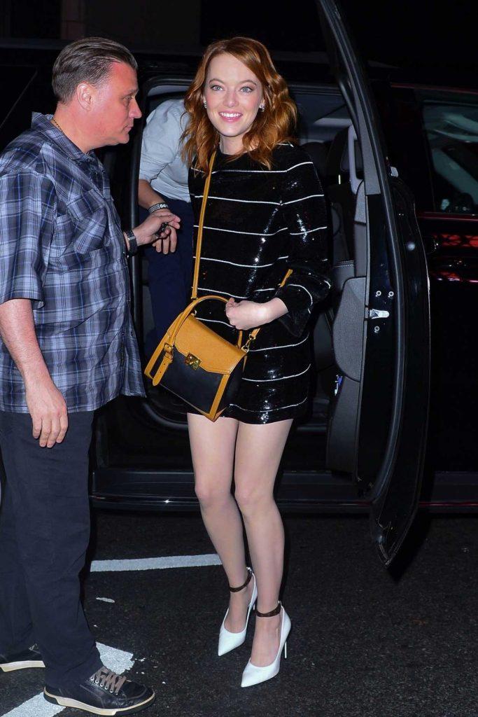 Emma Stone in a Black Striped Dress