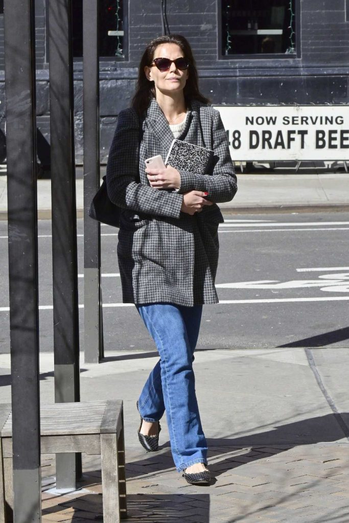 Katie Holmes in a Gray Coat