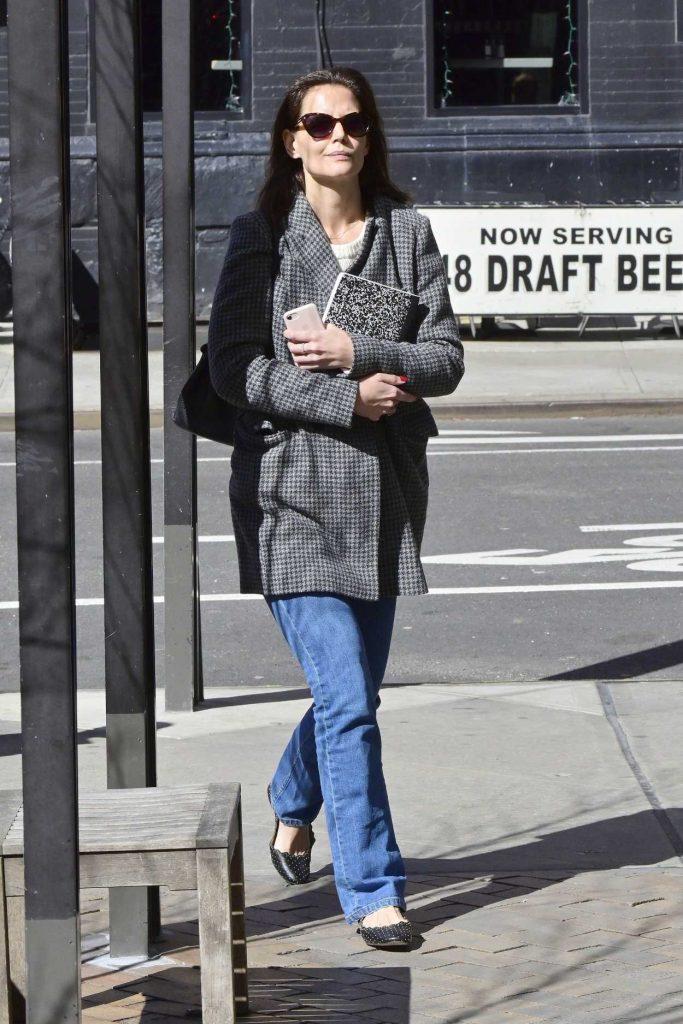 Katie Holmes in a Gray Coat