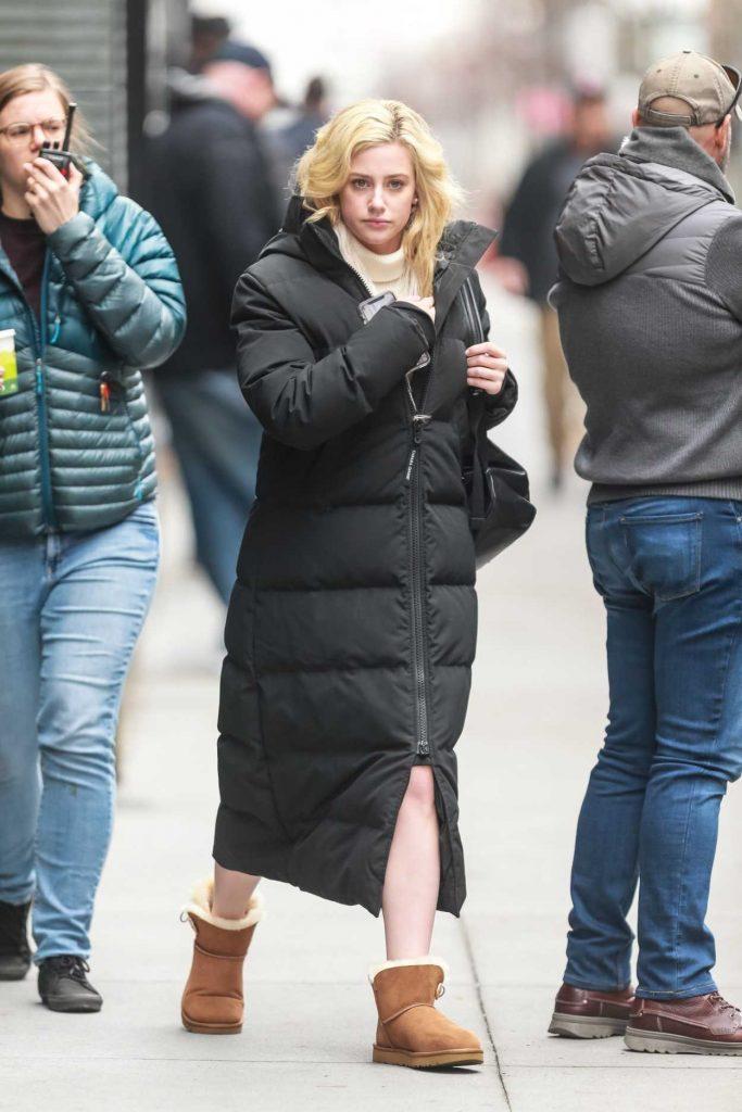 Lili Reinhart in a Black Puffer Coat
