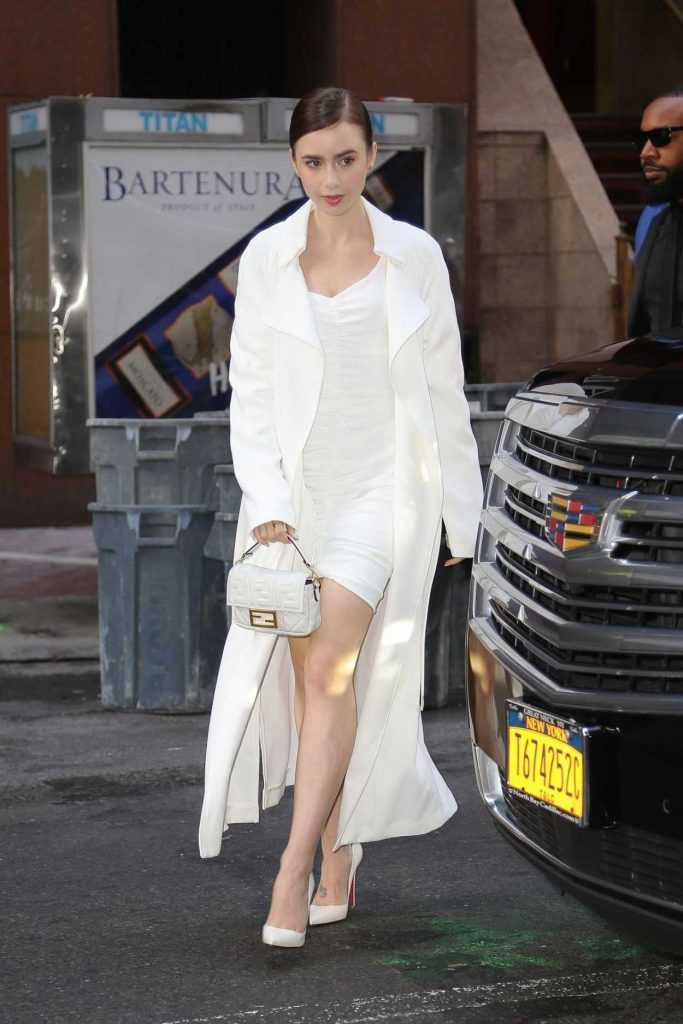 Lily Collins in a White Trench Coat