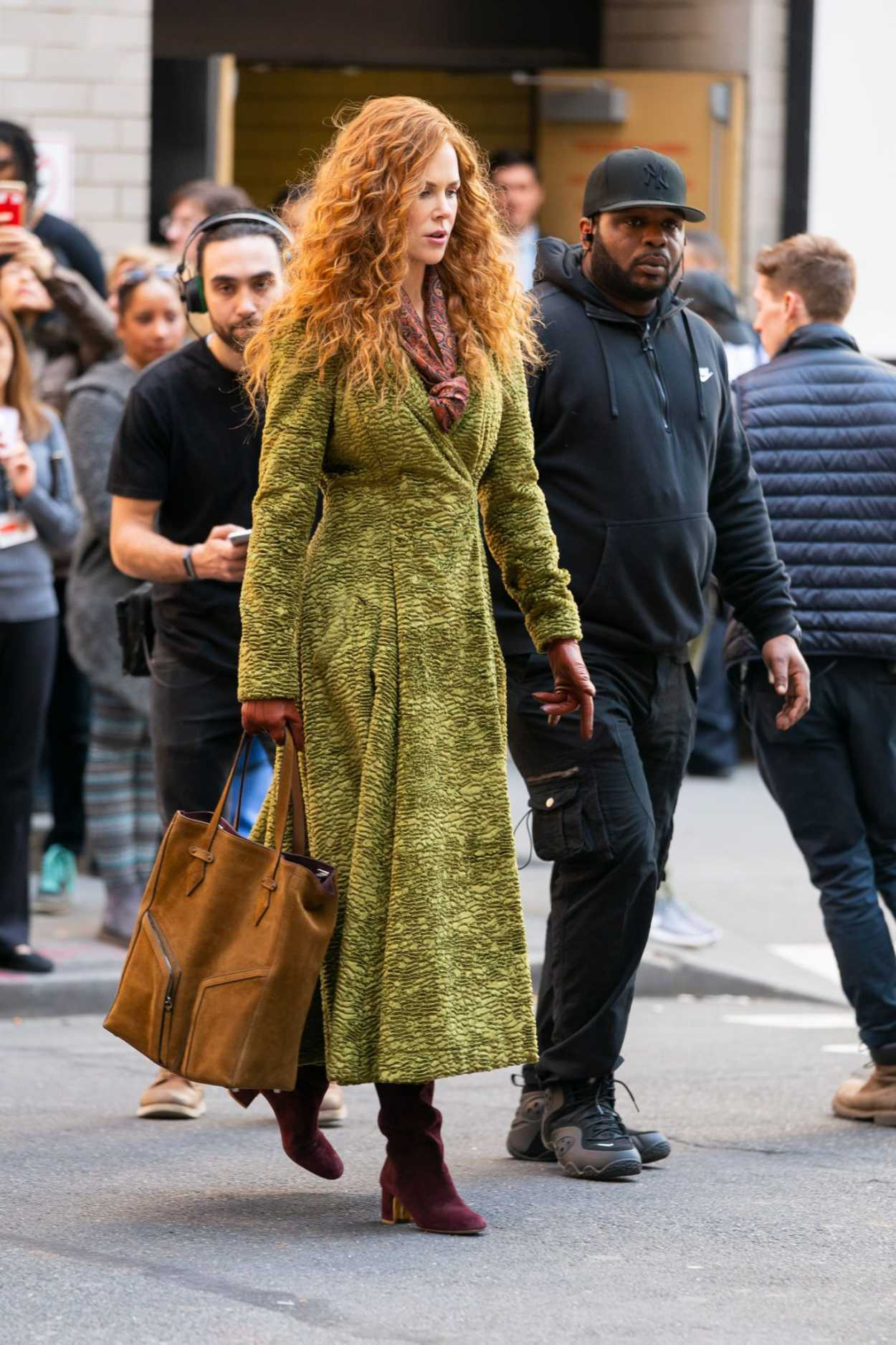 Nicole Kidman in a Green Coat on the Set of The Undoing in ...
