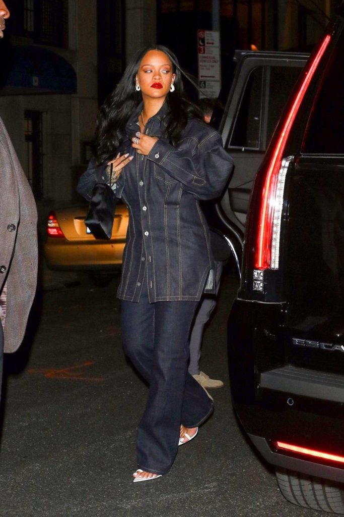 Rihanna in a Black Denim Suit