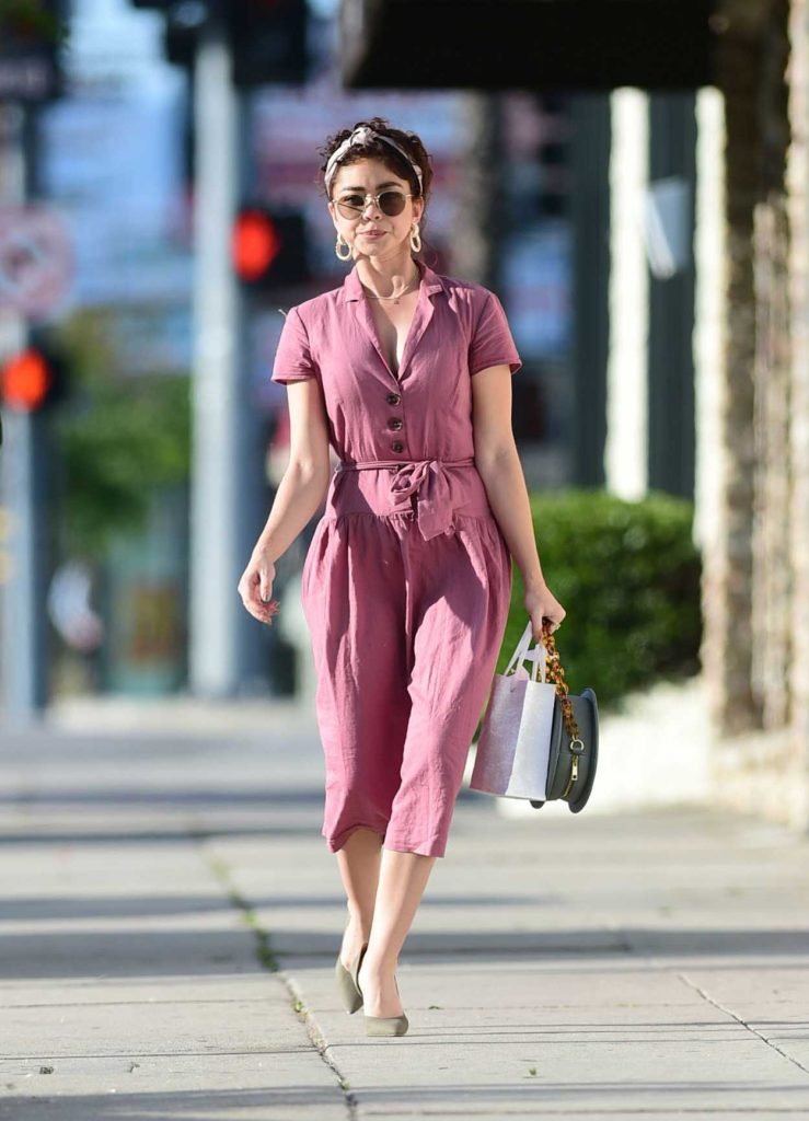 Sarah Hyland in a Purple Dress