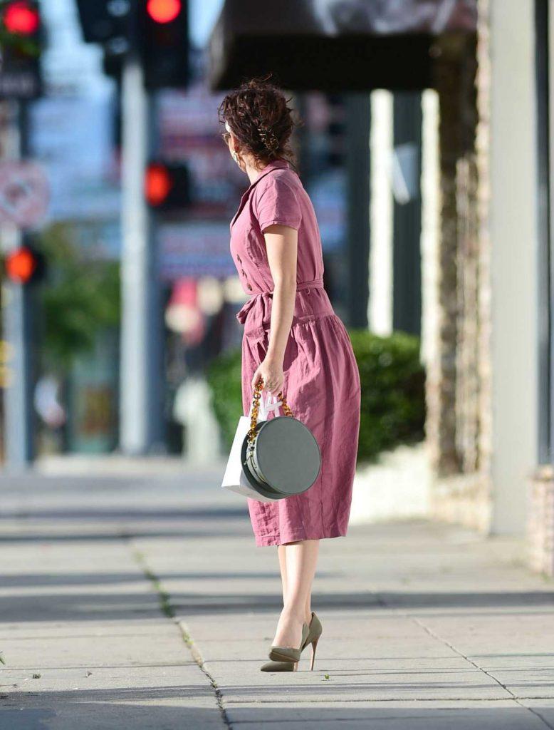 Sarah Hyland in a Purple Dress