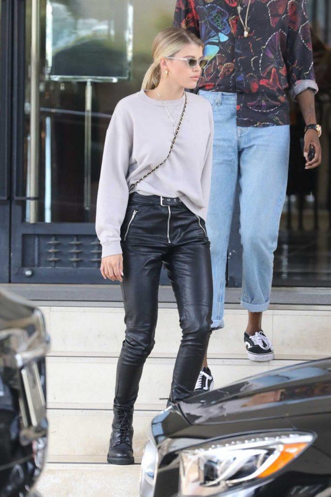 Sofia Richie in a Beige Sweatshirt