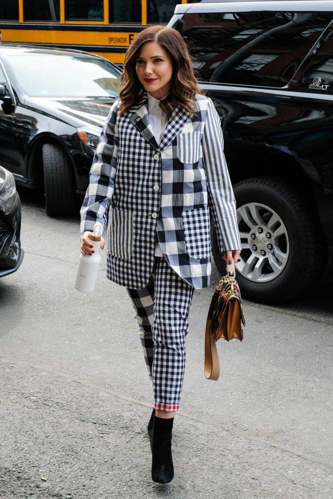 Sophia Bush in a Plaid Suit