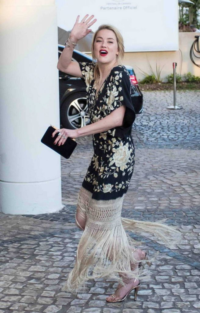 Amber Heard in a Black Floral Dress