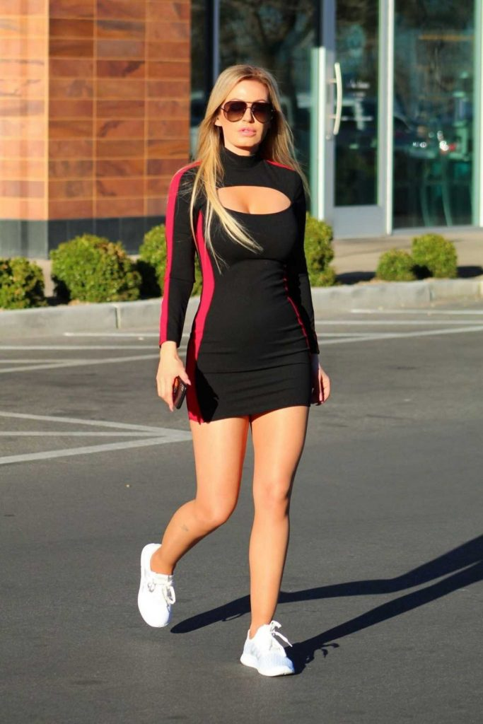 Ana Braga in a Black Tight Dress