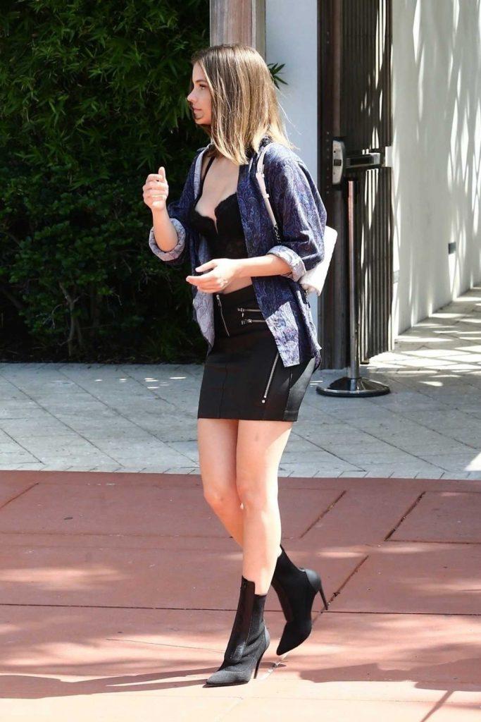 Barbara Palvin in a Short Black Skirt
