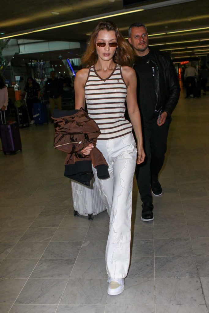 Bella Hadid in a White Pants