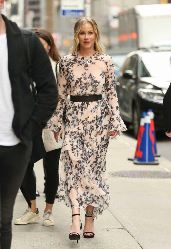 Christina Applegate in a Floral Print Dress