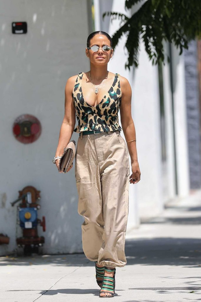 Christina Milian in a Beige Pants