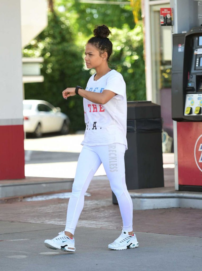 Christina Milian in a White T-Shirt