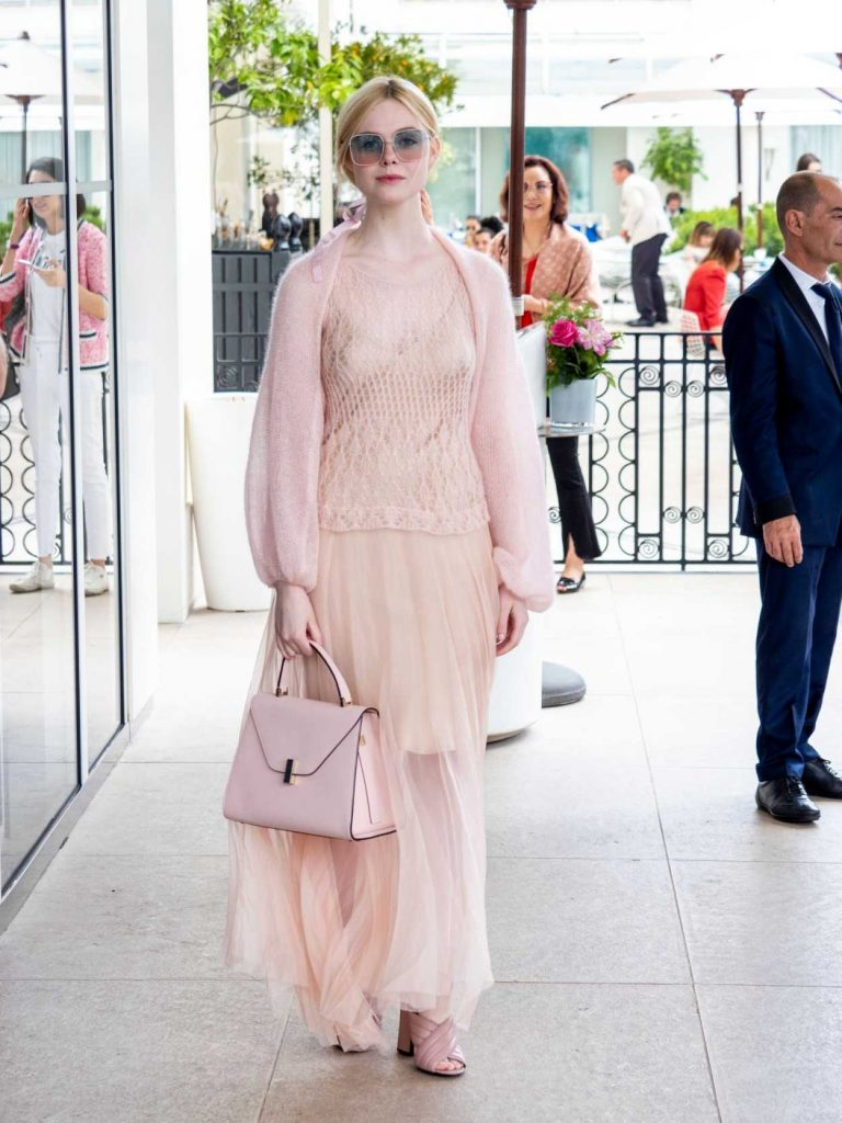 Elle Fanning in a Pink Dress