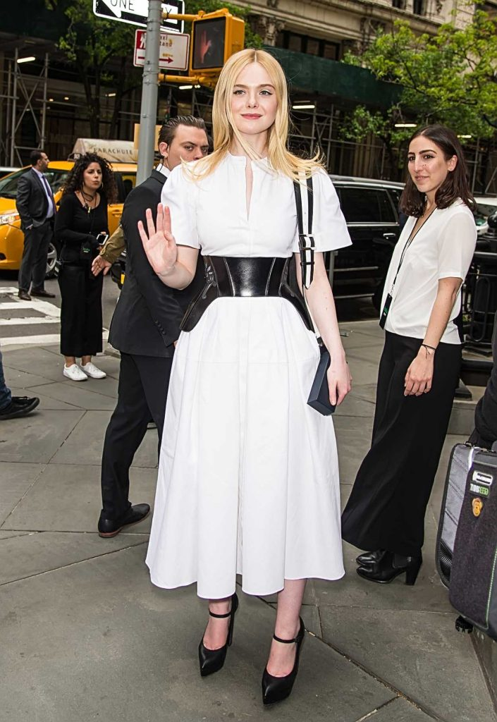 Elle Fanning in a White Dress