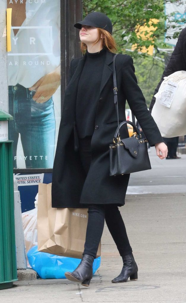 Emma Stone in a Black Coat