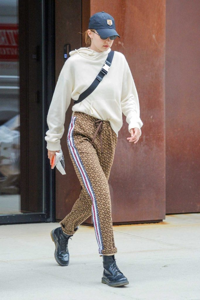 Gigi Hadid in a Burberry Pants
