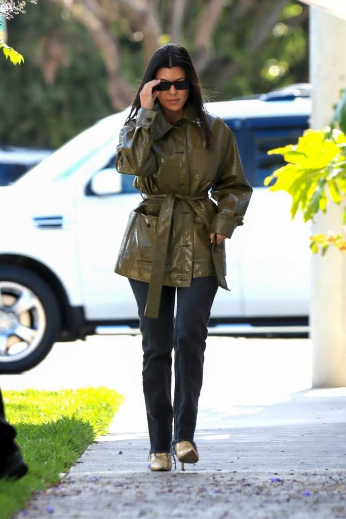 Kourtney Kardashian in a Green Jacket