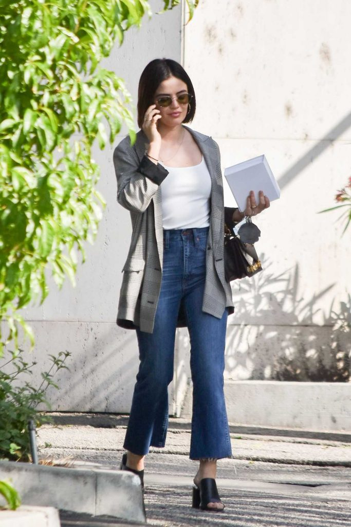 Lucy Hale in a Gray Blazer