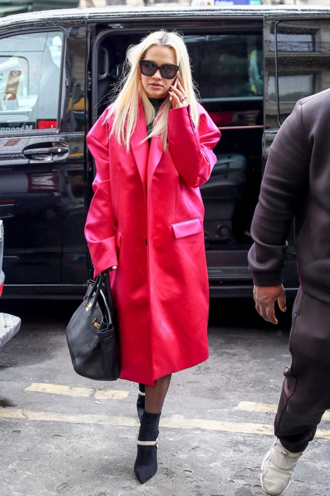 Rita Ora in a Red Trench Coat