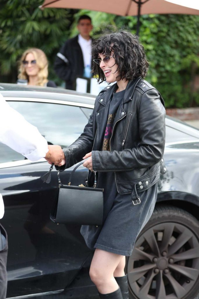Rumer Willis in a Black Leather Jacket