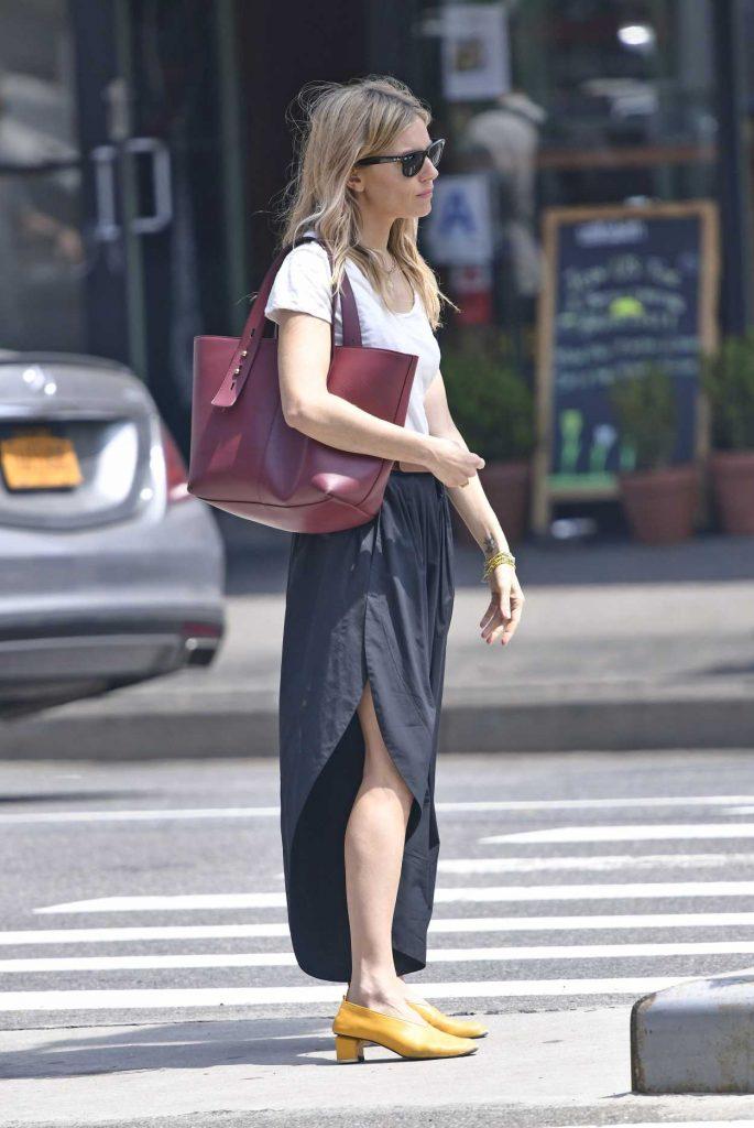 Sienna Miller in a White T-Shirt