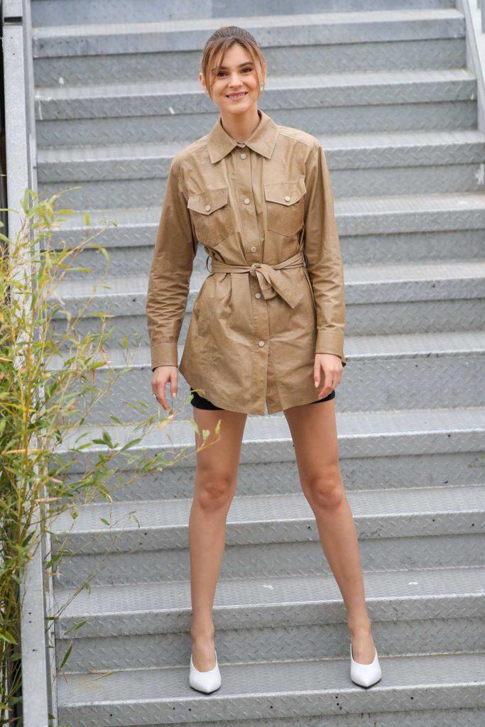 Stefanie Giesinger in a Beige Jacket