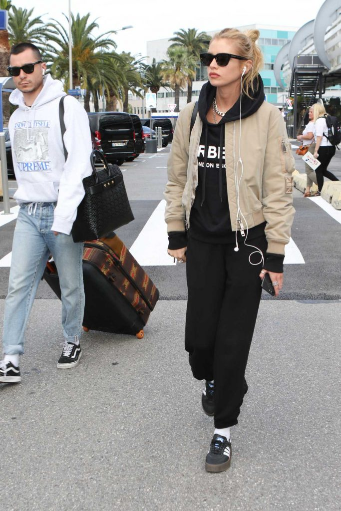 Stella Maxwell in a Beige Bomber Jacket