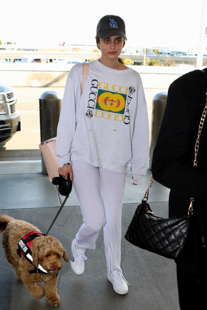 Taylor Hill in a White Gucci Sweatshirt