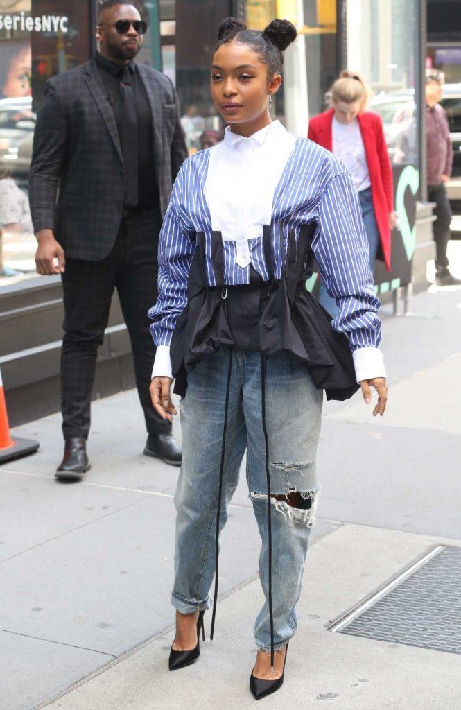 Yara Shahidi in a Blue Ripped Jeans