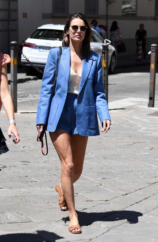 Alessandra Ambrosio in a Blue Blazer