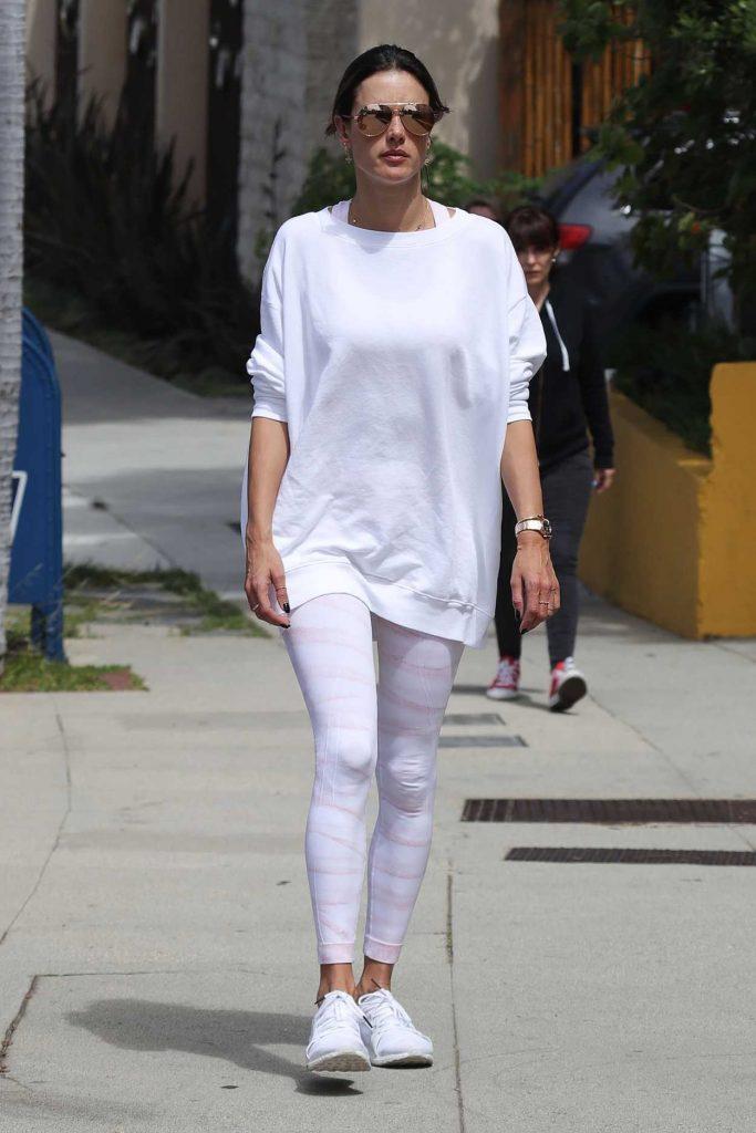 Alessandra Ambrosio in a White Sneakers