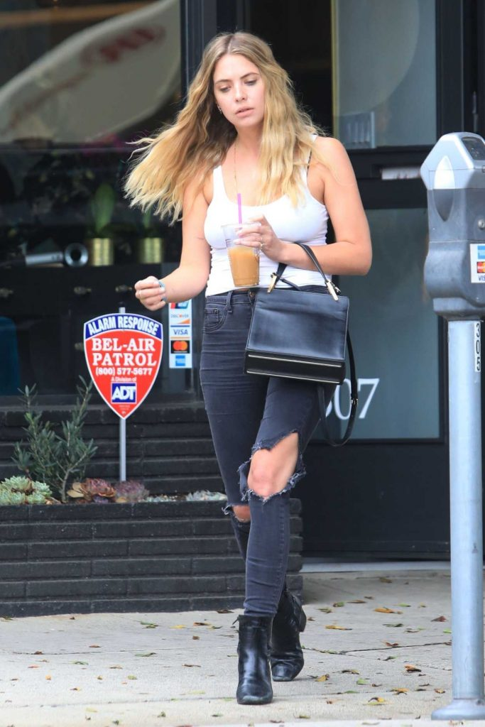 Ashley Benson in a Black Ripped Jeans