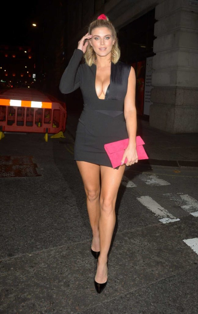 Ashley James in a Short Black Dress