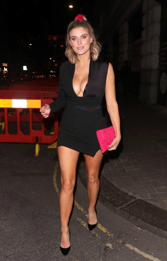 Ashley James in a Short Black Dress