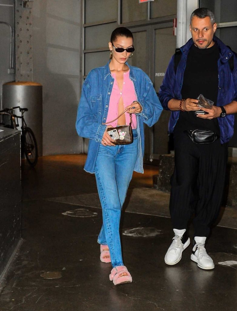 Bella Hadid in a Blue Denim Suit