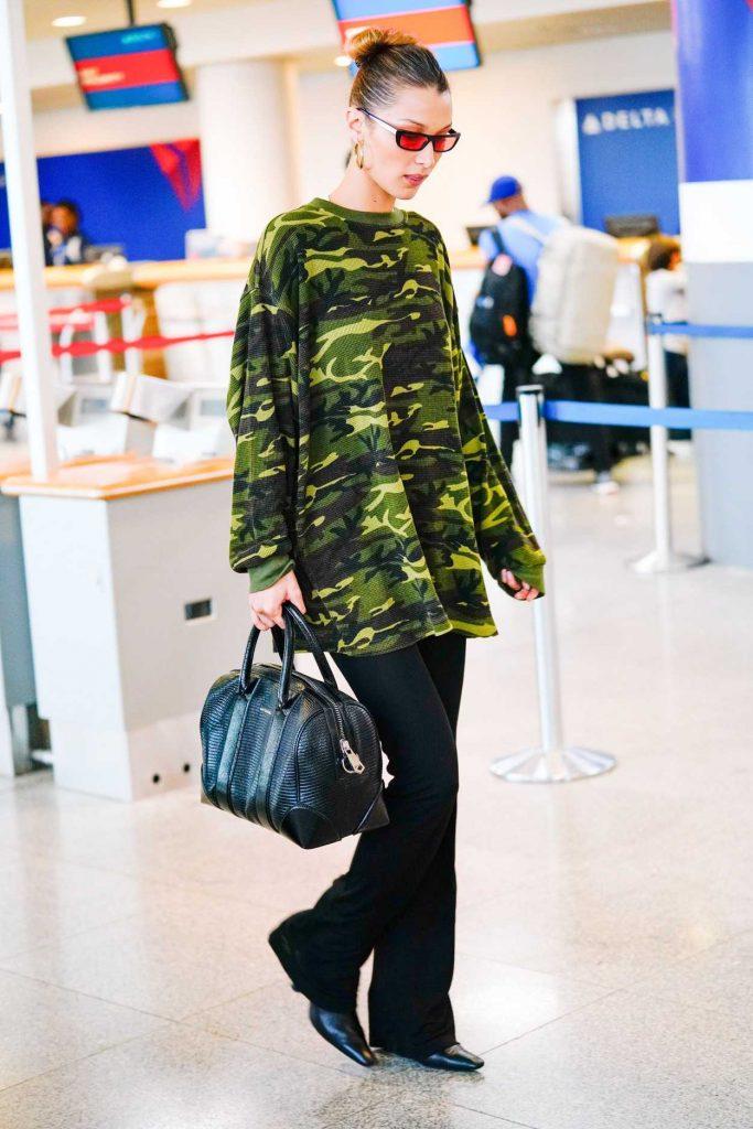 Bella Hadid in a Camo Sweatshirt
