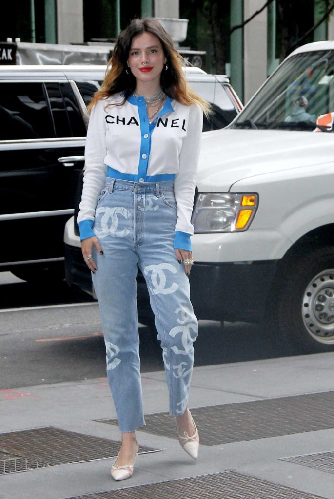 Bella Thorne in a White Chanel Blouse