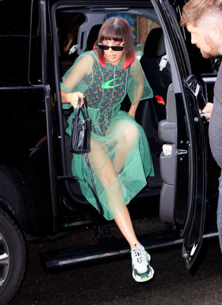 Charli XCX in a Green Transparent Dress