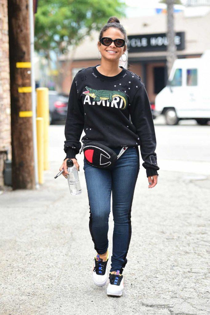 Christina Milian in a Black Sweatshirt