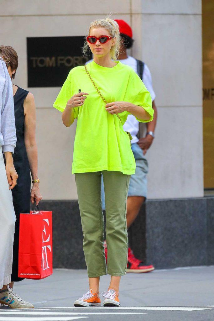 Elsa Hosk in a Neon Green Tee